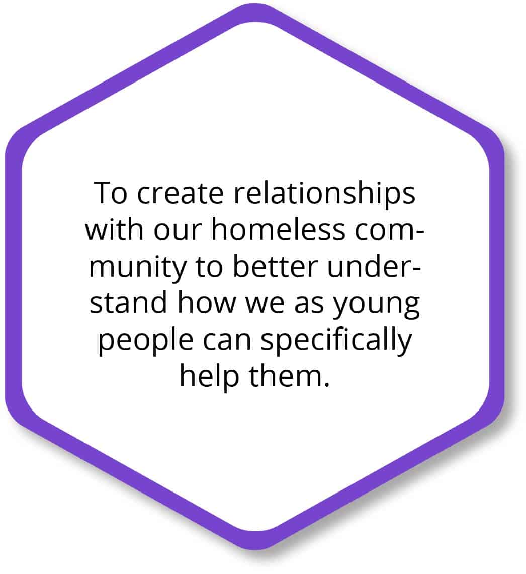 To create relationships with our homeless community to better understand how as young people can specifically help them.