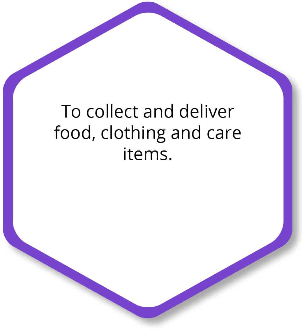 To connect and deliver food, clothing, and care items.