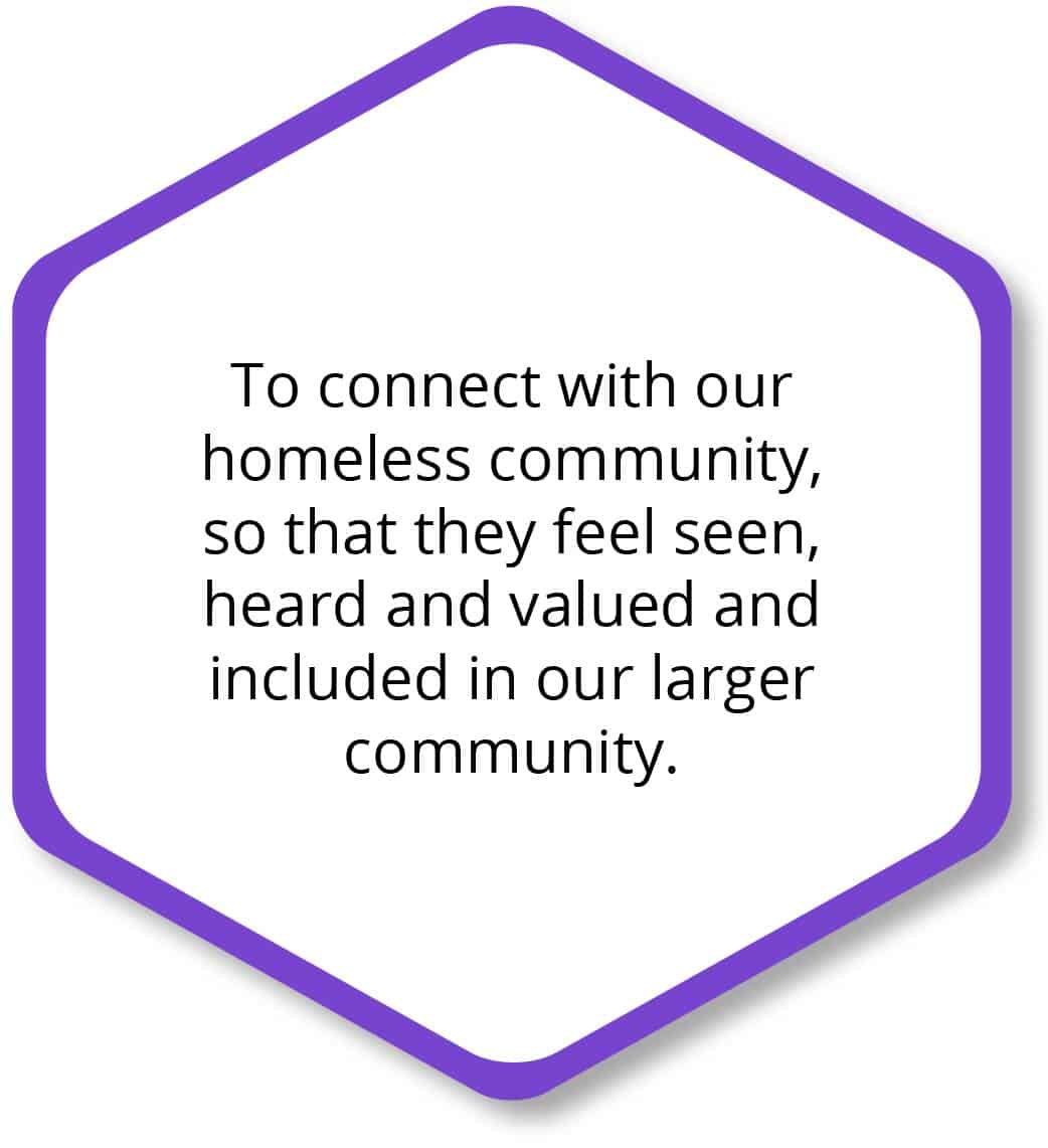 To connect with our homeless community, so that they feel seen, heard and valued and included in our community.